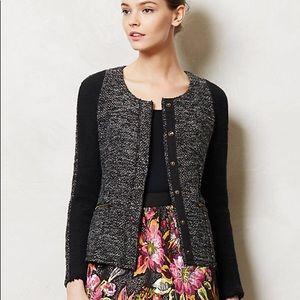 Anthropologie Tweed Snap Cardigan Jacket